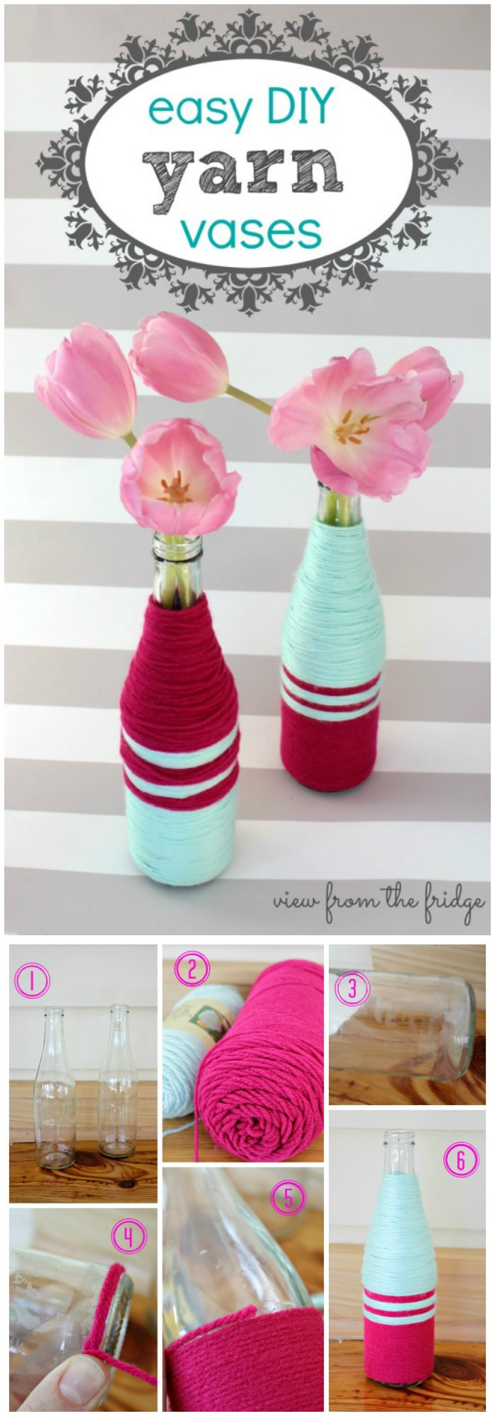 Yarn Wrapped Glass Bottles