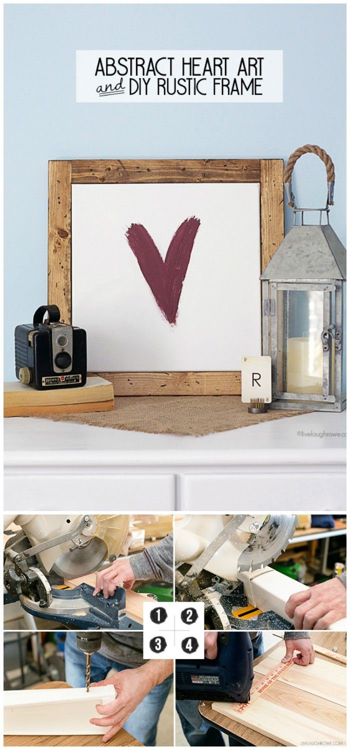 Abstract Heart Art and DIY Rustic Frame