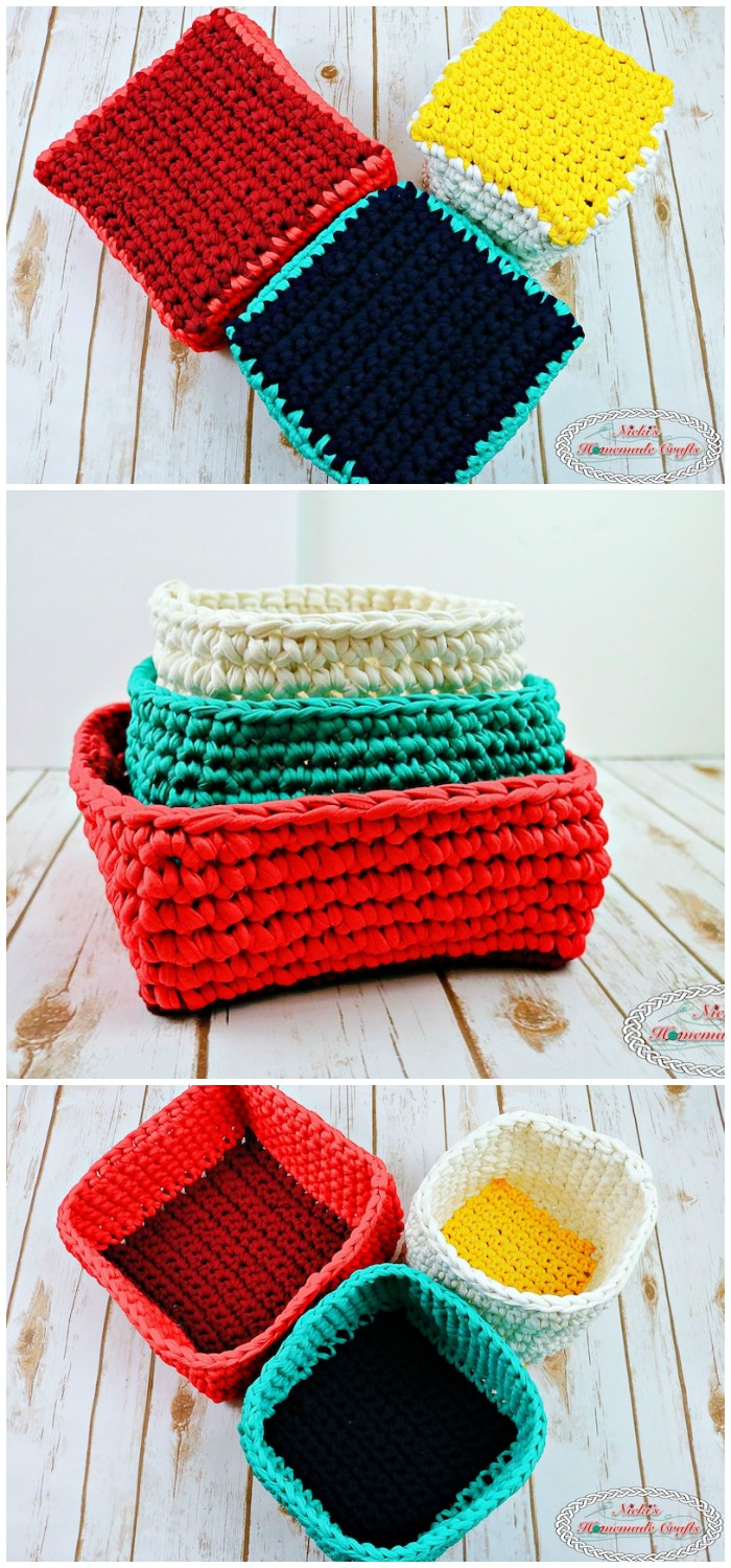 Baskets made with T-Shirt Yarn