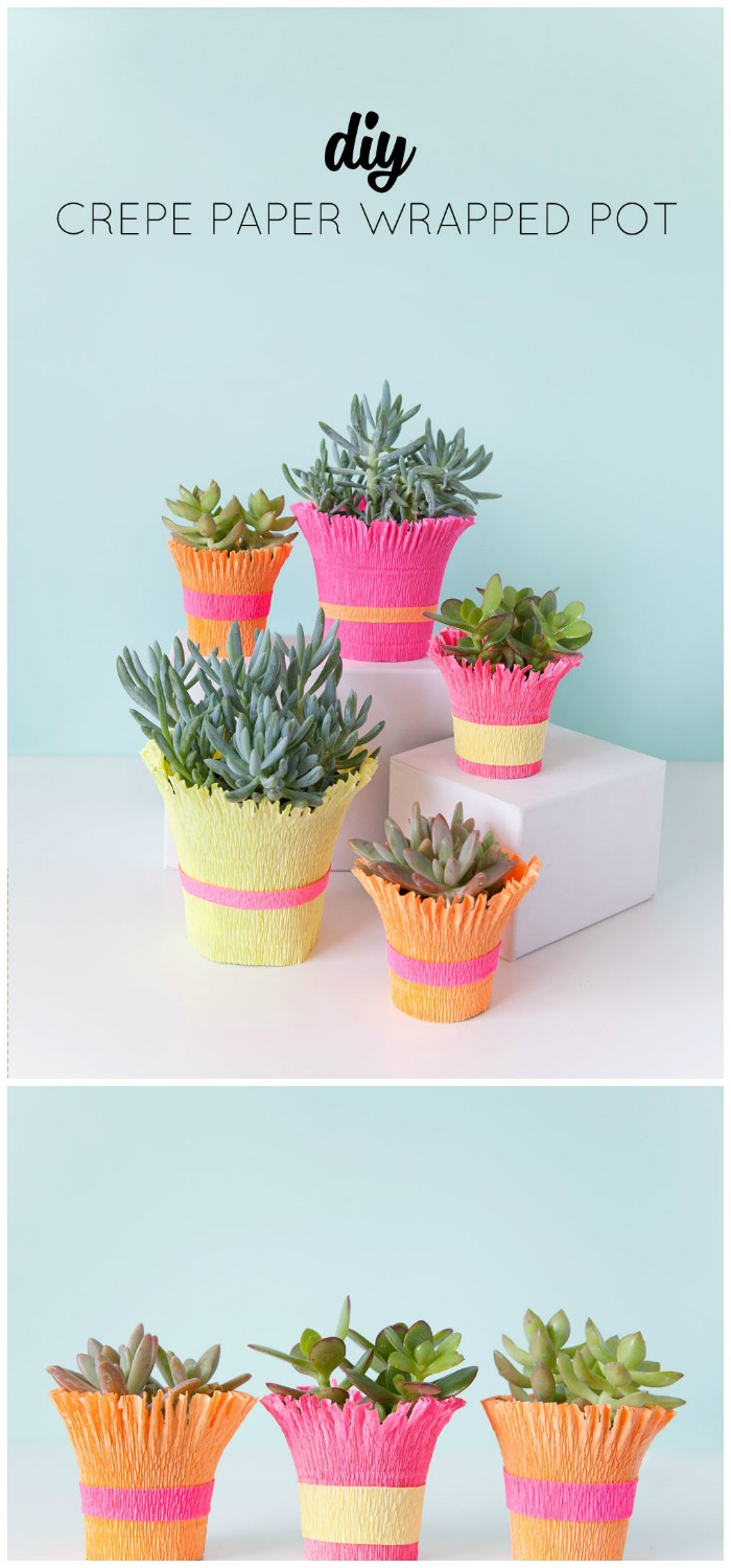 Crepe Paper Wrapped Pot