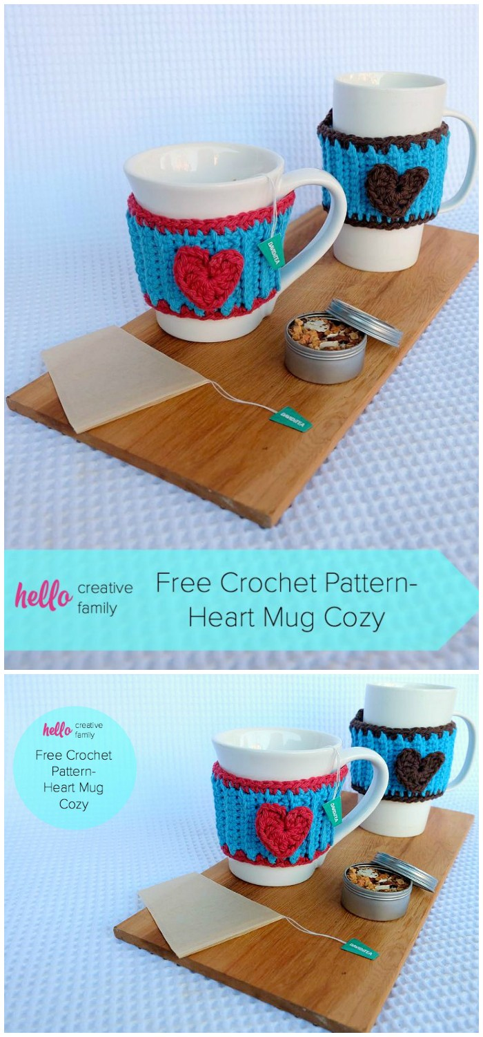 Crochet Heart Mug Cozy Pattern