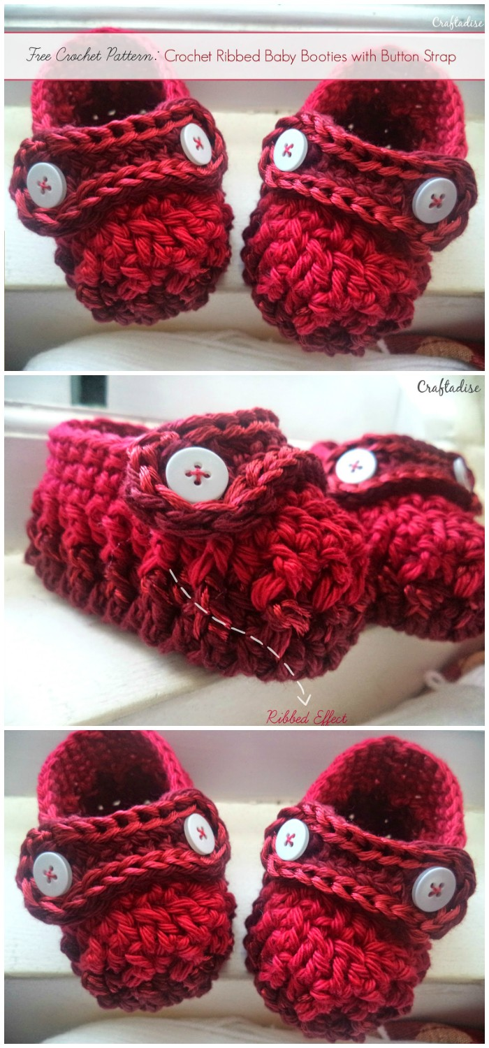 Crochet Ribbed Baby Booties