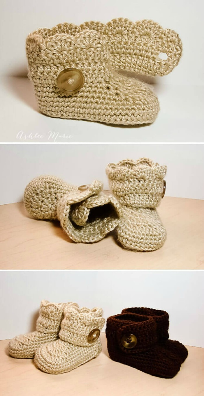 Crochet wrap around button infant boots