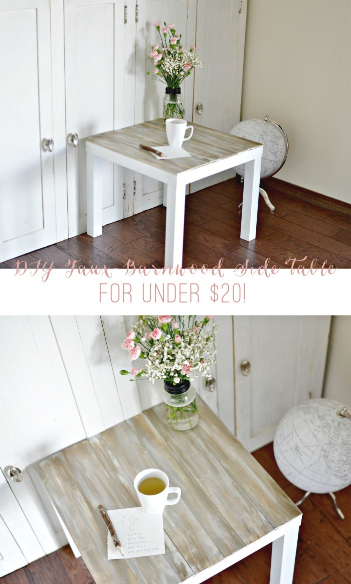 DIY Faux Barnwood Side Table