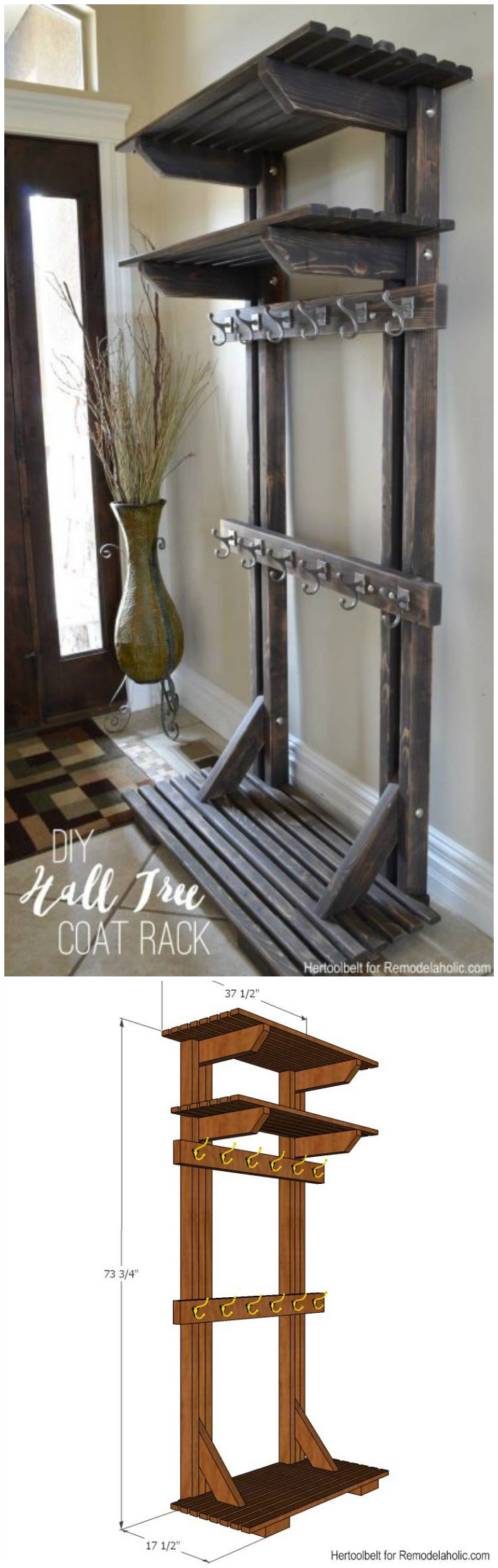 DIY Hall Tree Coat Rack