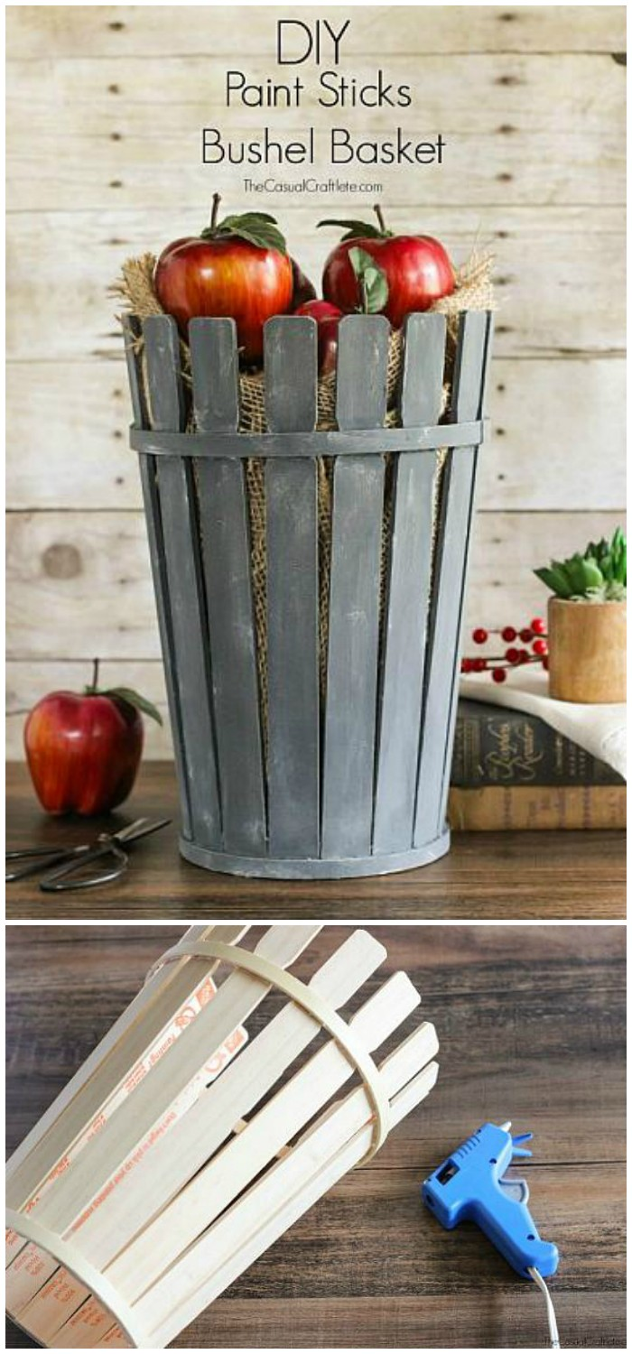 DIY Paint Sticks Bushel Basket