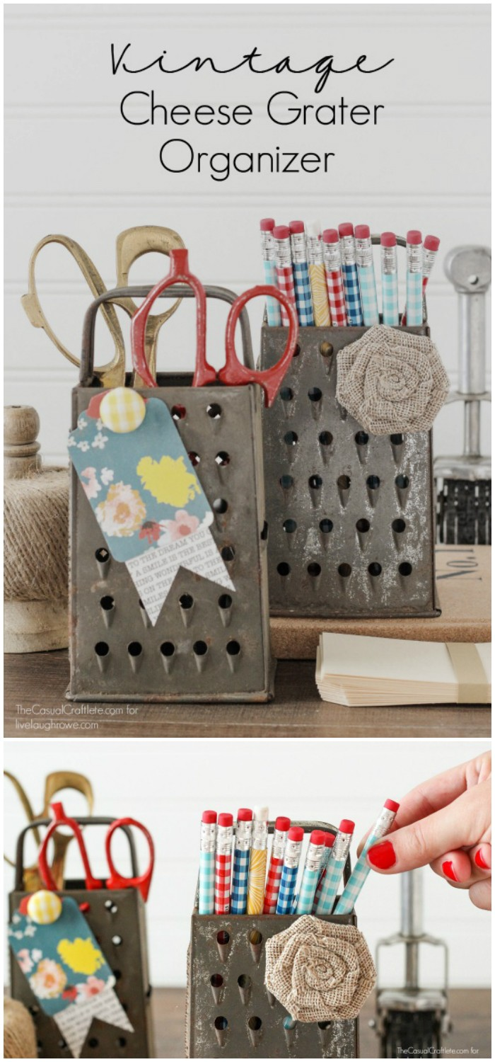 Upcycled Vintage Cheese Grater Organizer