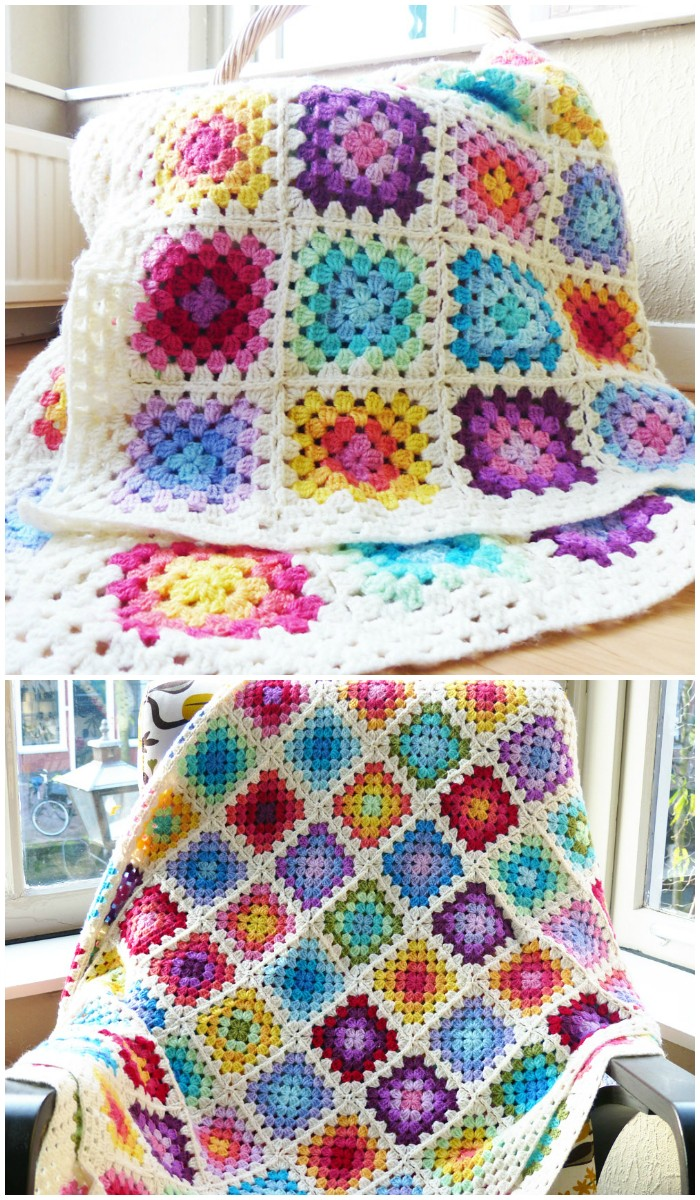 Colourful Rainbow Granny Square Blanket