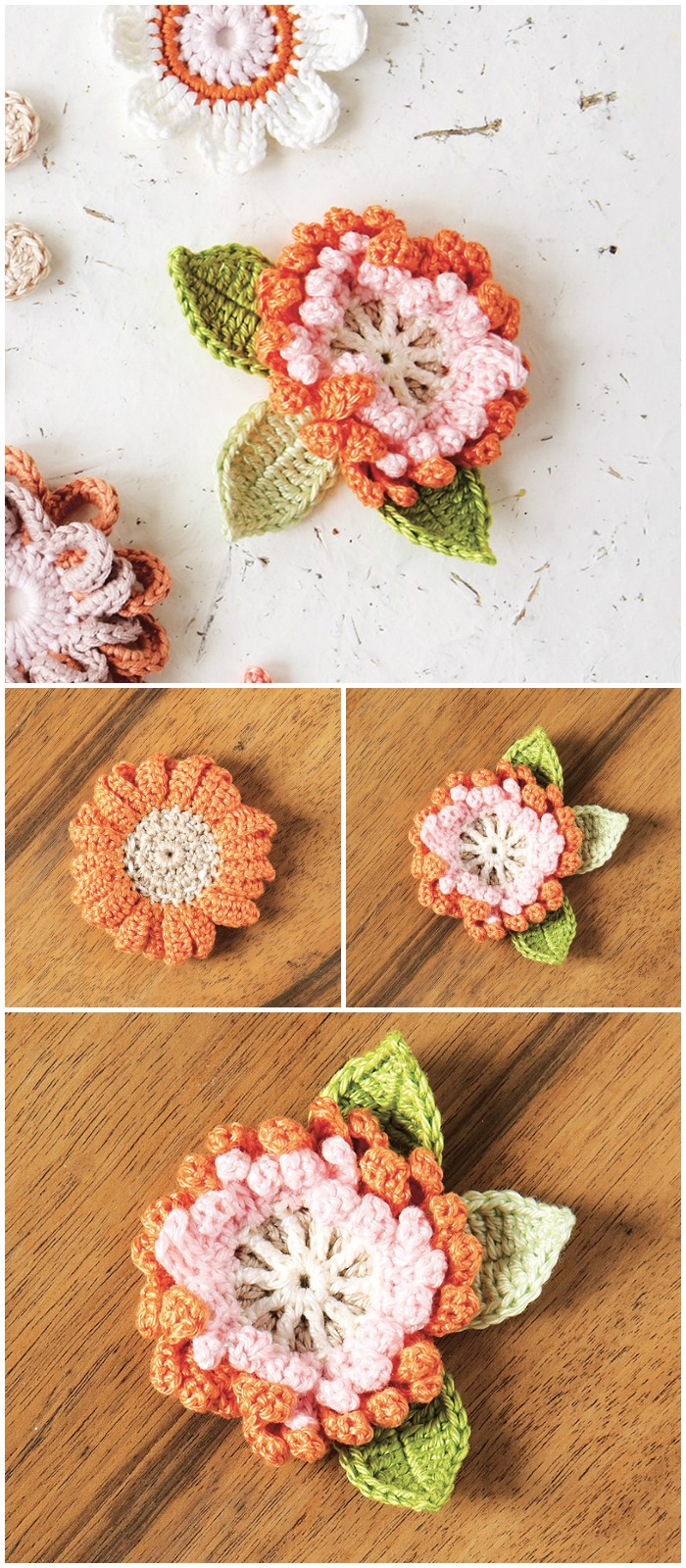 Corsage crochet pattern for British Flowers