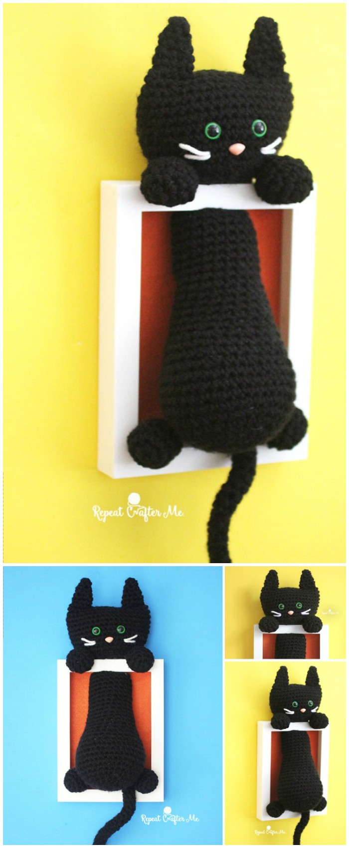 Crochet Cat Shadow Box Wall Art Decor