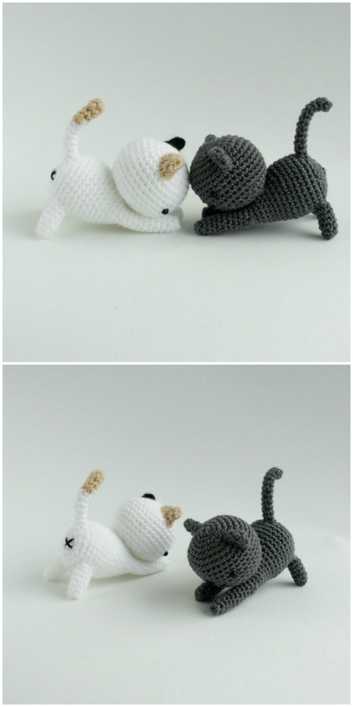 Crochet Cute White & Black Cats