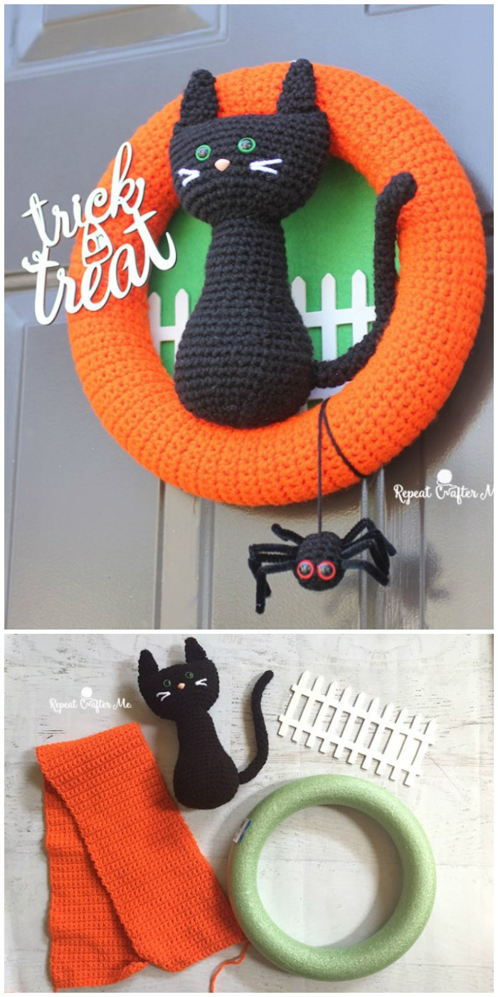 Crochet Halloween Black Cat Wreath
