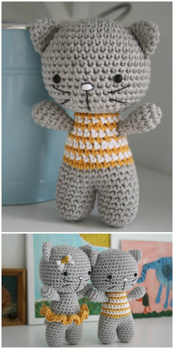 Crochet Small Cat With Joined Legs Amigurumi