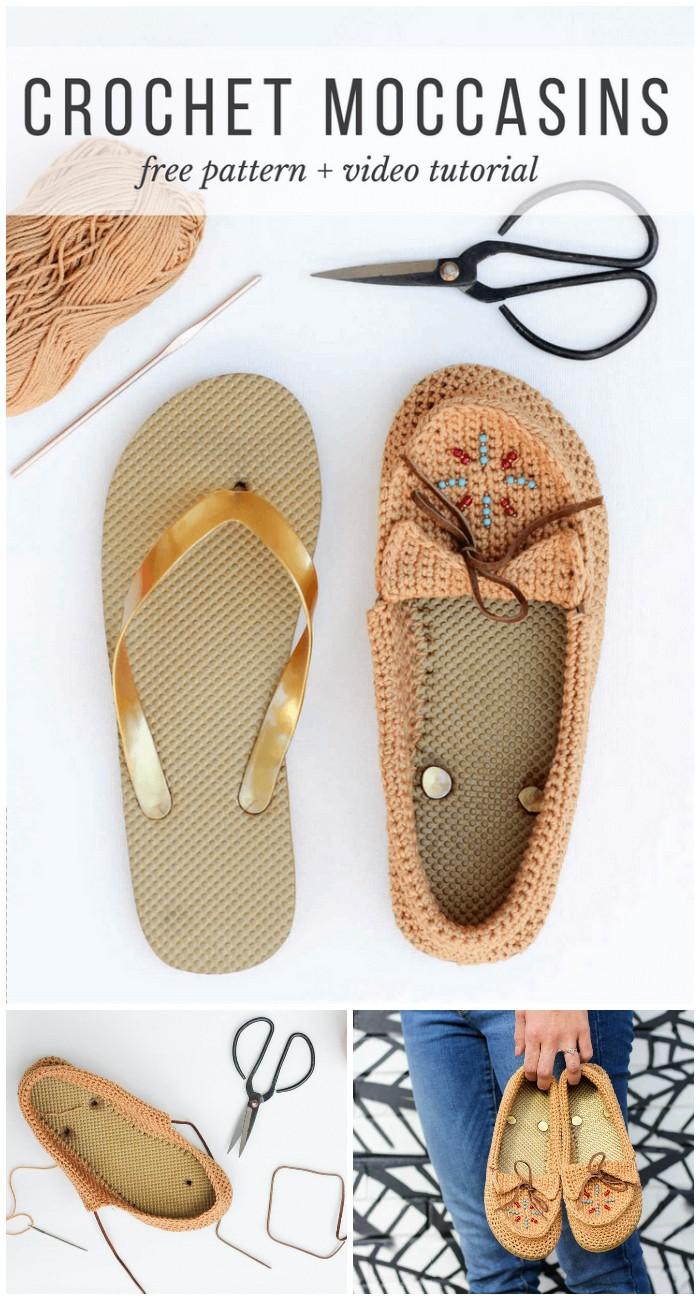 DIY Crochet Shoes With Flip Flop Soles