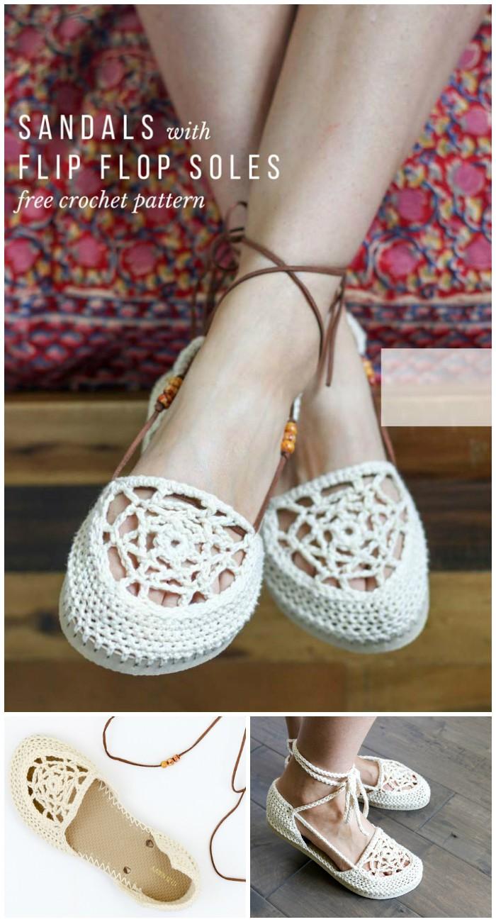 Dream Catcher Crochet Flip Flop Sandals