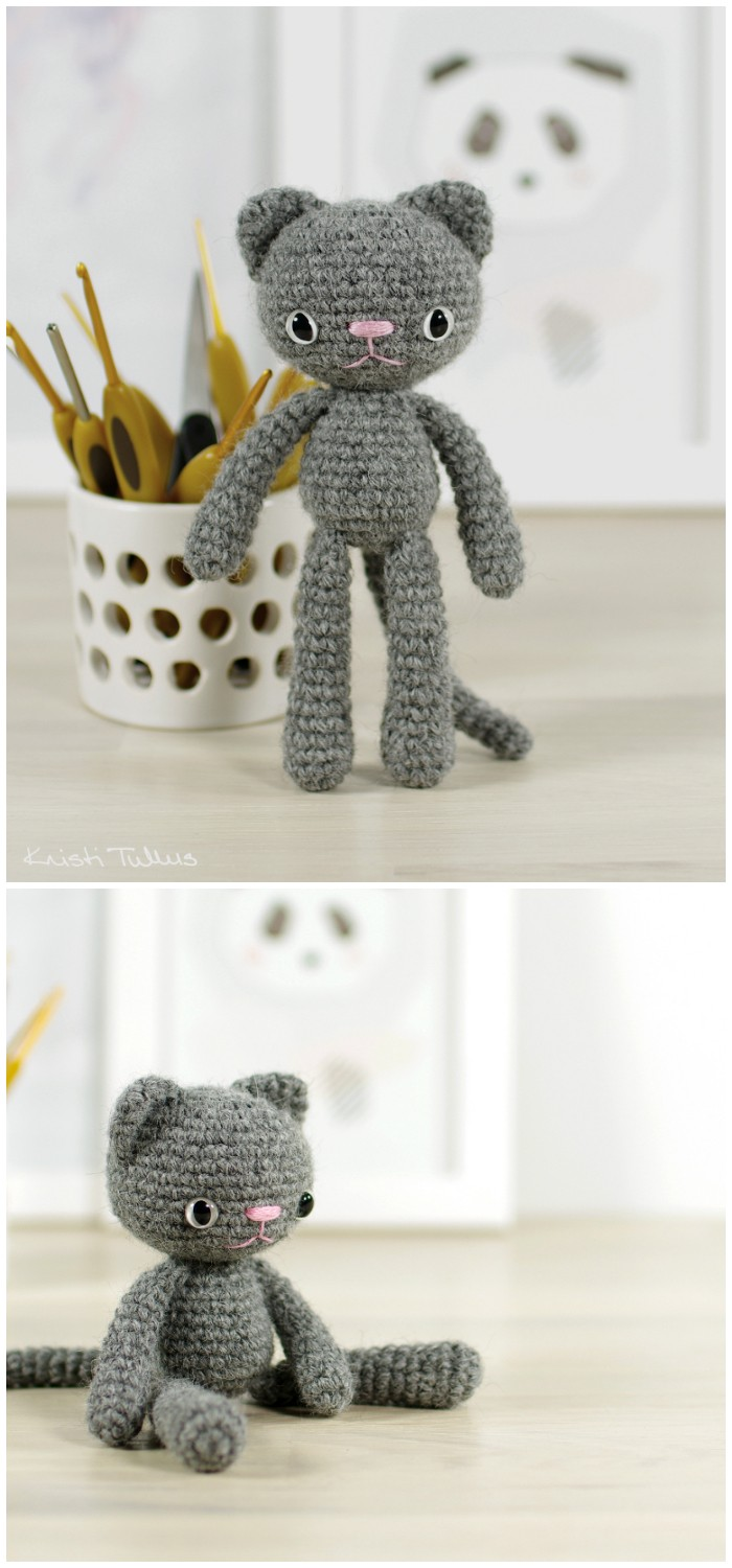 Free Crochet Small Long-Legged Cat