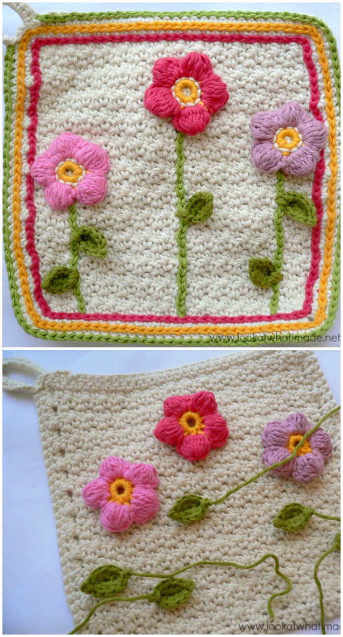 Little Flower Garden Dishcloth