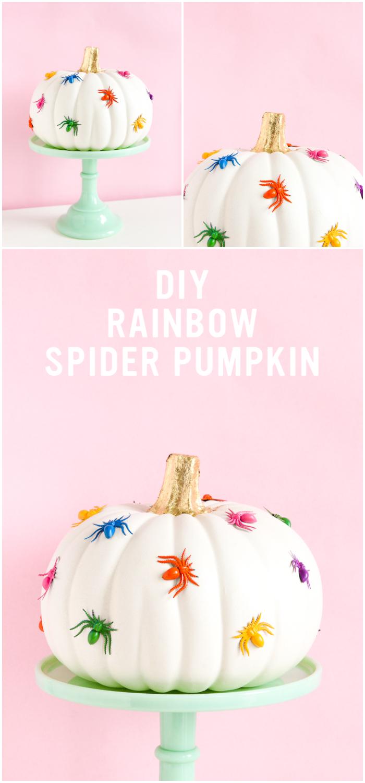 DIY Rainbow Spider Pumpkin