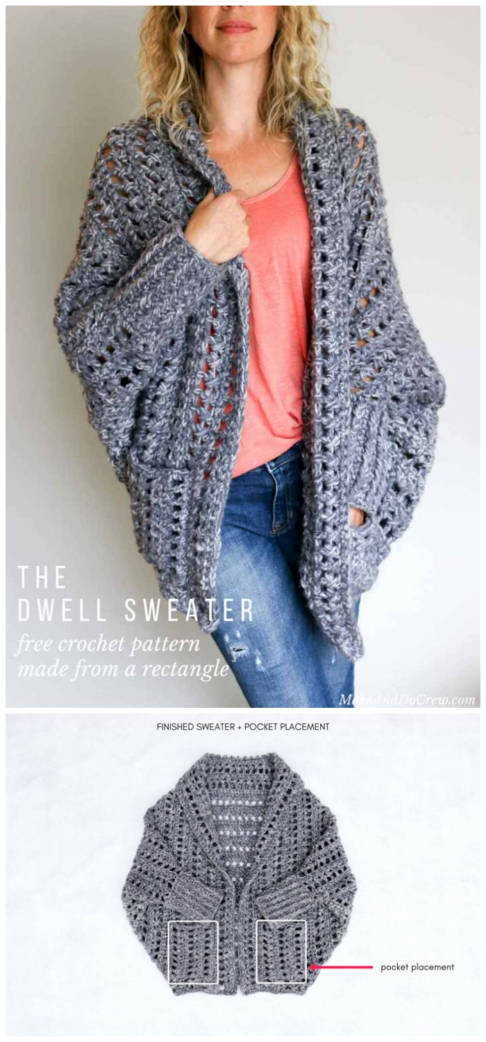 Dwell Chunky Crochet Sweater – Free Pattern