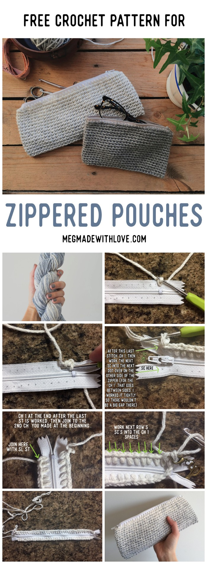Free Crochet Pattern and Tutorial for Zippered Pouches