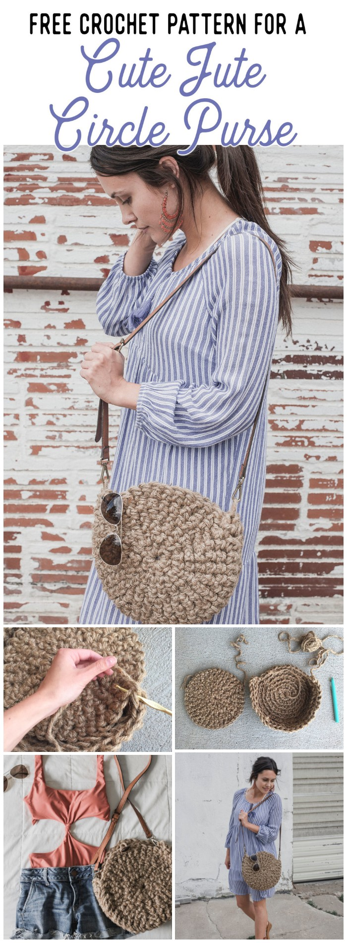 Free Crochet Pattern for The Cute Jute Circle Purse