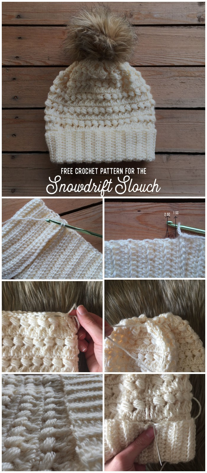 Free Crochet Pattern for The Snowdrift Slouch