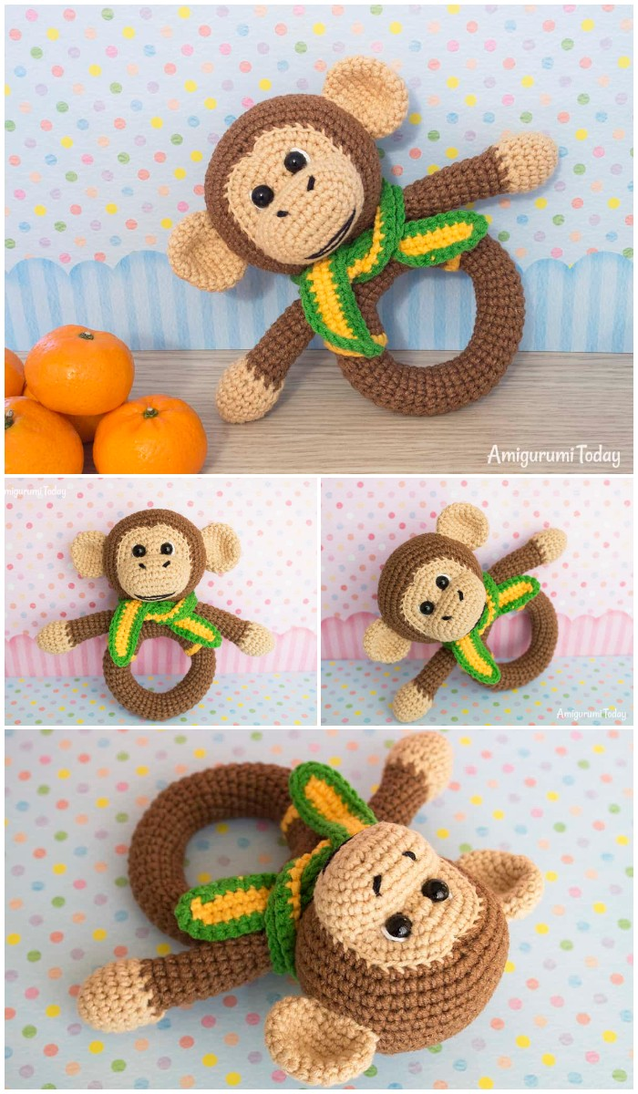 Monkey Baby Rattle Crochet Designed Pattern By Amigurumi Today