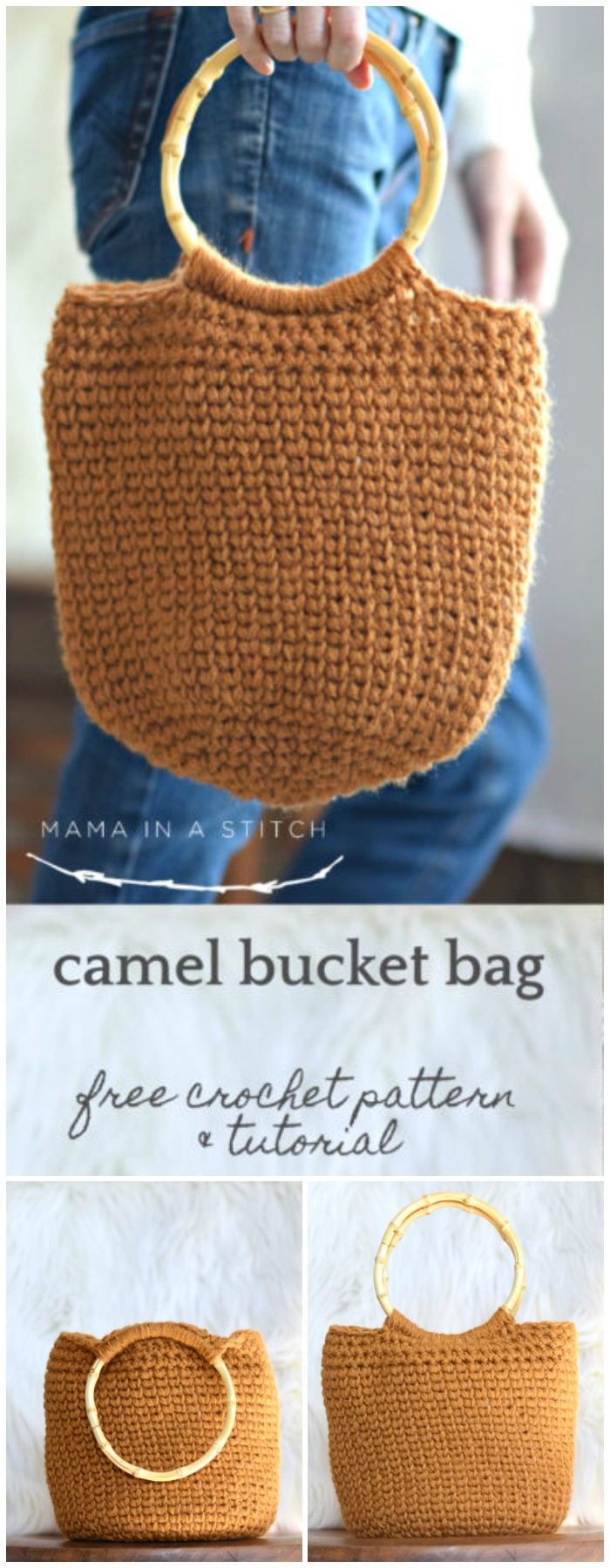 camel bucket bag crocheted bag pattern
