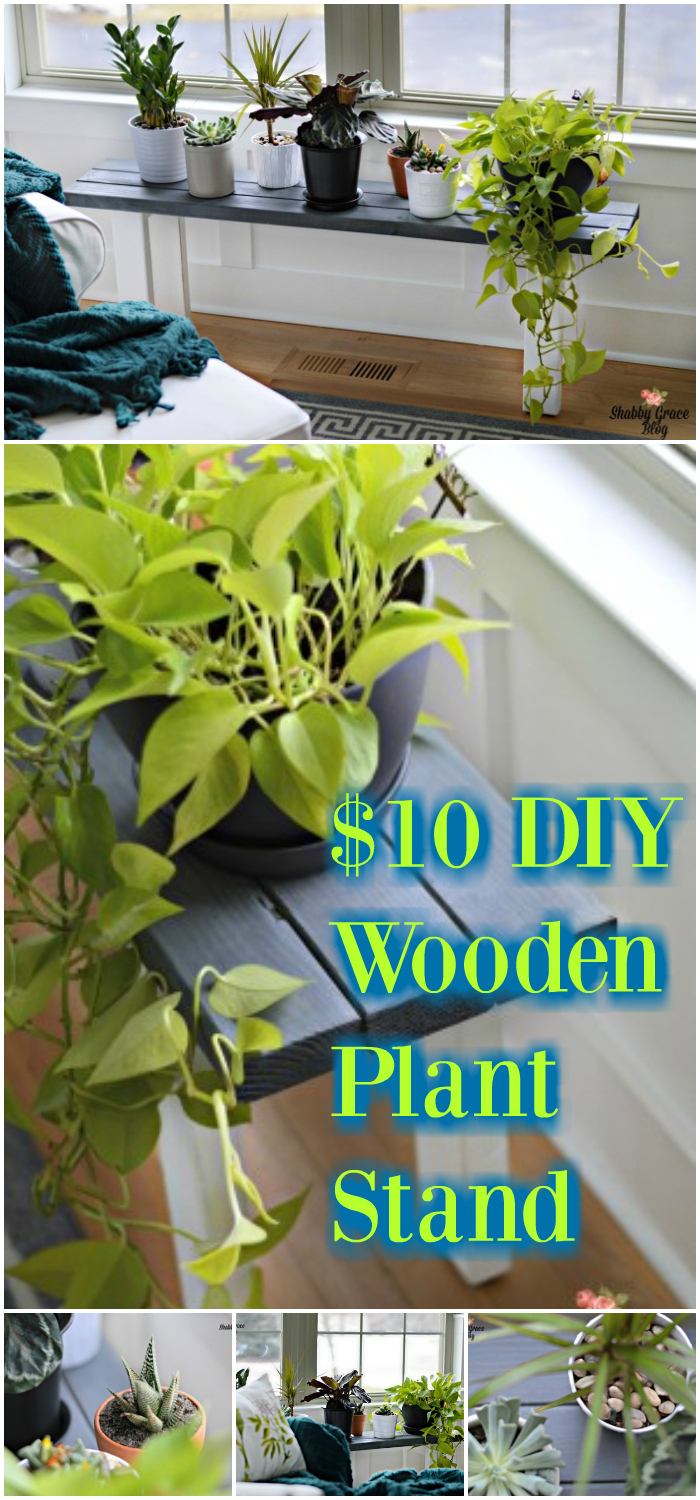 $10 DIY Wooden Plant Stand