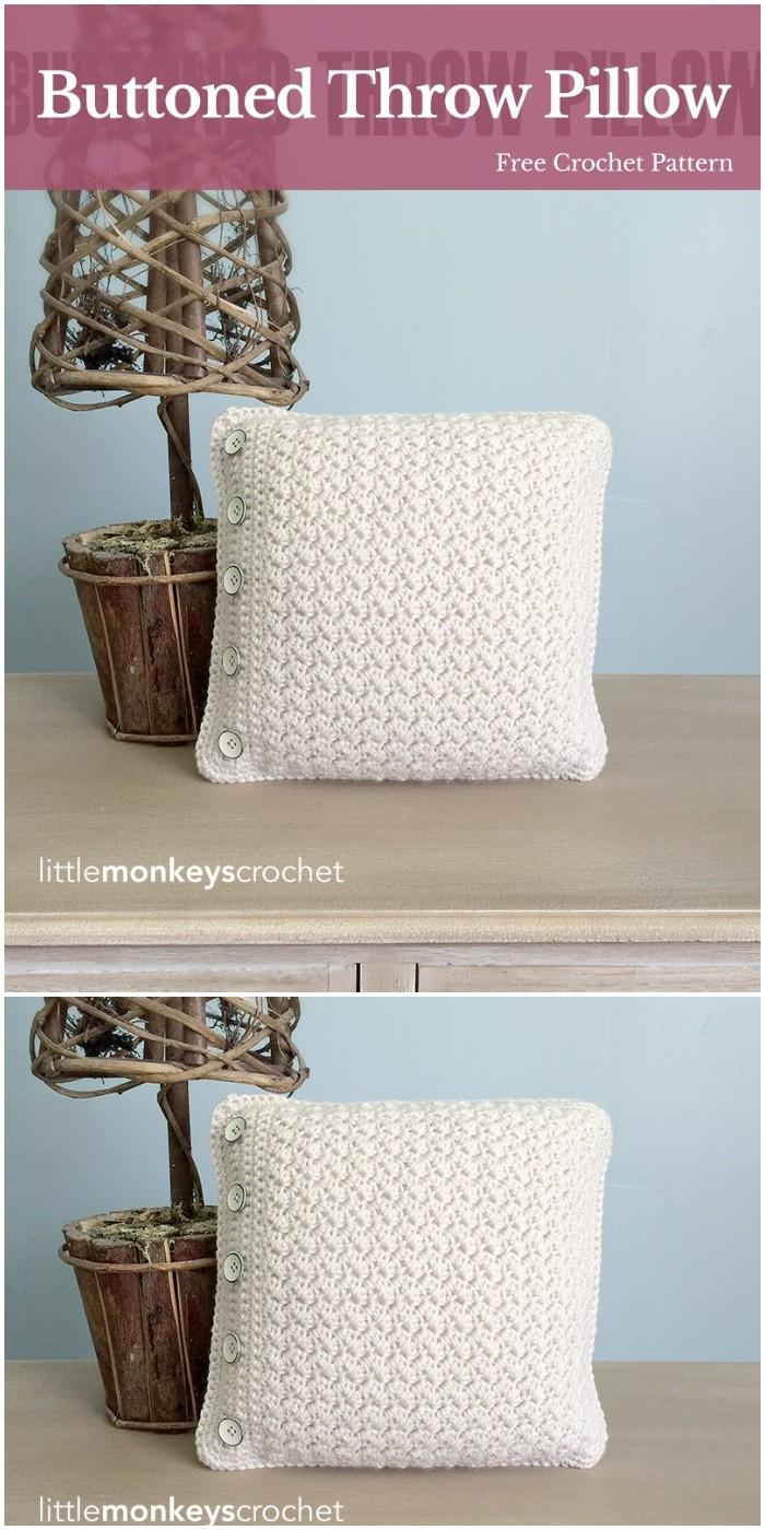 Crochet Buttoned Throw Pillow