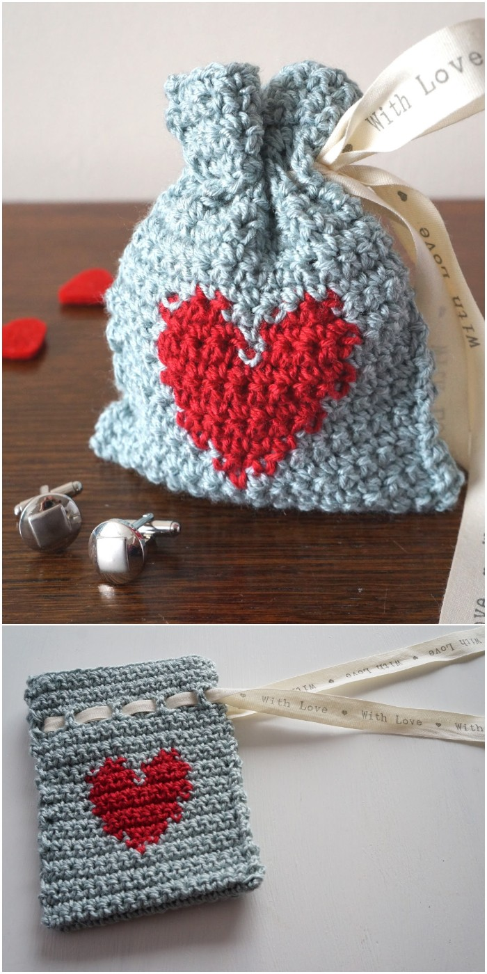 Crochet Valentines Day Gift Bag